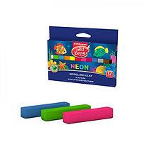 Пластилин 12 цветов, 180 г, ArtBerry Neon, неоновые цвета светятся под действием ультрафиолетовой лампы