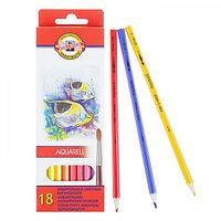 Карандаши акварельные 18 цветов Koh-I-Noor 3717 Рыбки, картонная упаковка, европодвес