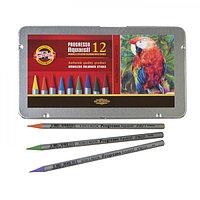 Карандаши художественные 12 цветов, Koh-I-Noor Progresso Aquarell 8782, акварельные, цельнографитовые