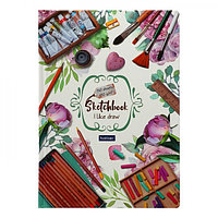 Бизнес-блокнот скетчбук А5, 80 листов «Я люблю рисовать», твёрдая обложка, блок 100 г/м²