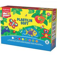 """Пластилин мягкий (восковой) 8 цветов по 24 г с аксессуарами для лепки, ArtBerry """"Учимся играя"""""""