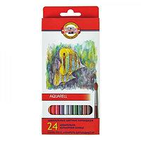 Карандаши акварельные 24 цвета 3.0 мм Koh-I-Noor Рыбки 3718, картонная коробка, европодвес, L=175 мм