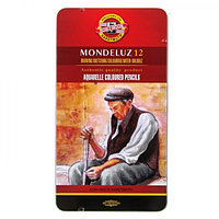 Карандаши акварельные Koh-I-Noor 3722/12 Mondeluz, 12 цветов, в металлическом пенале