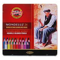 Карандаши художественные акварельные 24 цвета 3.8 мм, Koh-I-Noor Mondeluz, L=175 мм, в метал пенале