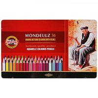 Карандаши акварельные Koh-I-Noor 3725/36 Mondeluz, 36 цветов, в металлическом пенале