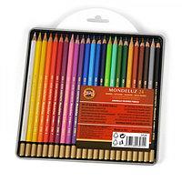 Карандаши художественные акварельные 24 цвета Koh-I-Noor Mondeluz, в металлическом пенале + блистер