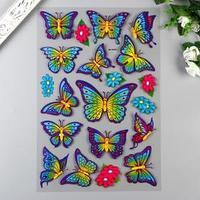 Наклейка пластик 3D глиттер 'Бабочки и цветы' МИКС 49,5х30 см