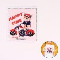 Аппликация из пайеток 'Собака на мотоцикле', 21,2 x 18,5 см