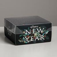 Коробка для кондитерских изделий с PVC крышкой Happy New Year, 12 х 6 х 11,5 см (комплект из 10 шт.)