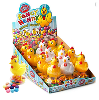 Кидсмания Fancy Henny Dubble Bubble Цыпленок Игрушка+Конфеты 15гр (12 шт в упаковке)