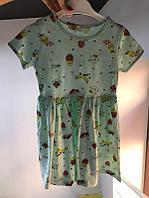Платье мятное с красивым принтом, фото 1