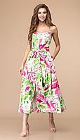 Платье Romanovich-1-1624/1, розовый/зелень, 44