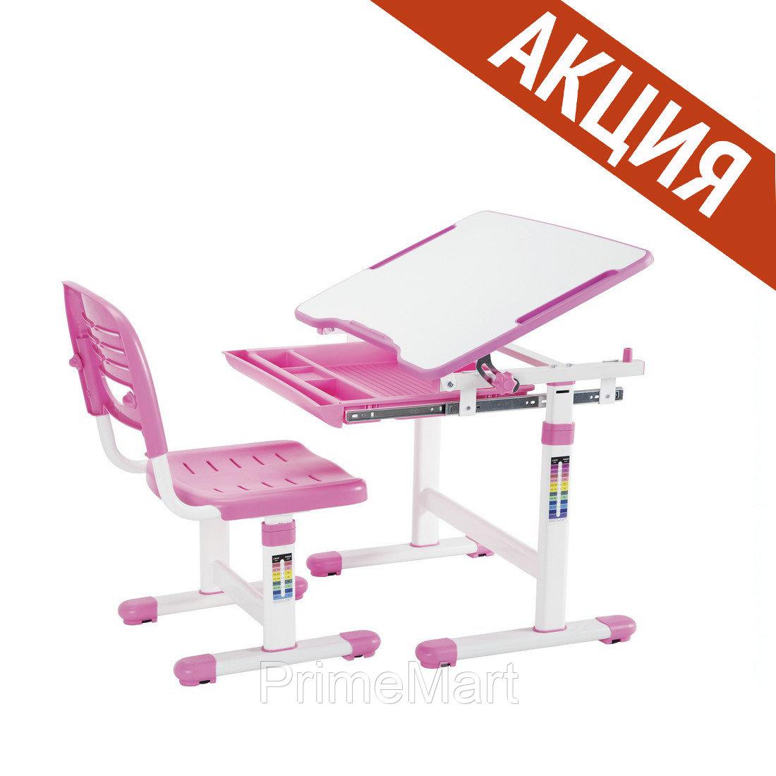 Растущая Парта-трансформер со Стулом Deluxe Для детей от 3 до 12 лет, Розовый