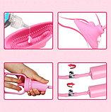 Розовая вакуумная помпа для клитора с вибрацией, фото 3