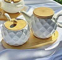 Сахарница + молочница на бамбуковой подставке (объём 250мл)
