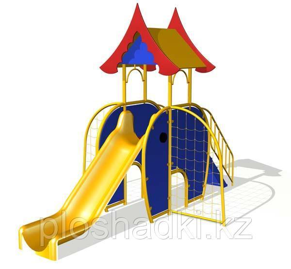 Детский комплекс с крышей, горкой, лестницей, сетка-лазалка