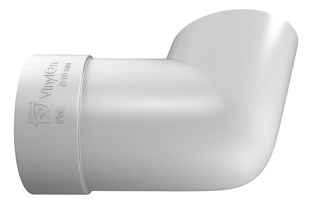 Колено сливное 90 мм Белый VINYLON