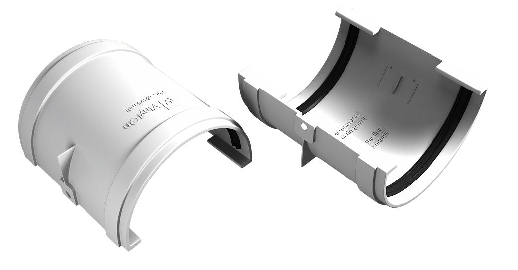 Соединитель желоба 125x90 мм Белый VINYLON