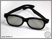 3D очки поляризующие пассивные с Линейной поляризацией пластик, черны