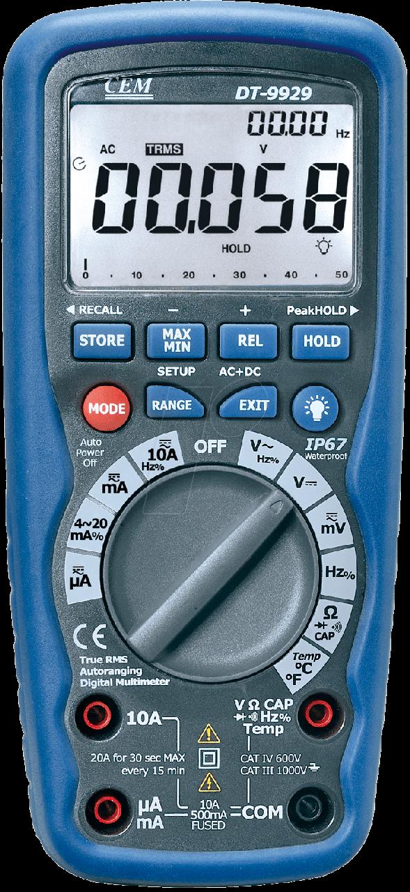 CEM DT-9939 Профессиональный цифровой мультиметр, степень защиты IP67