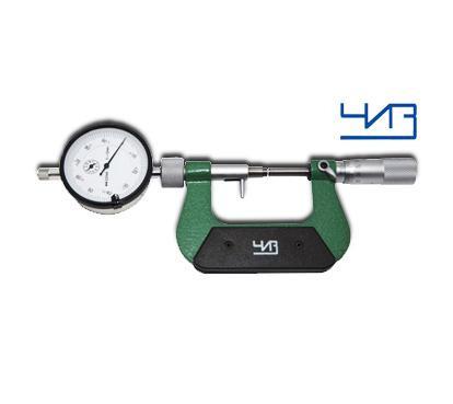 Микрометр рычажный ЧИЗ 0,01мм с наружным индикатором  МРИ 0-25