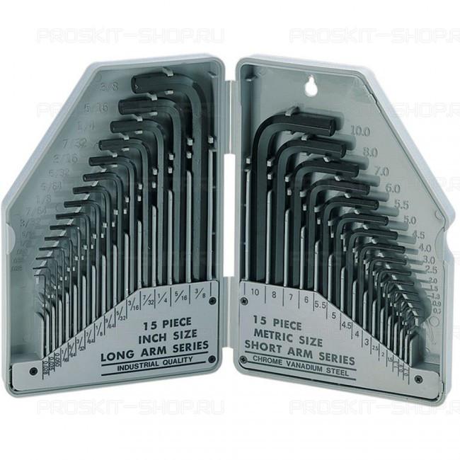 8PK-027 Pro'sKit Набор ключей-шестигранников (30шт.,метрические-дюймовые)