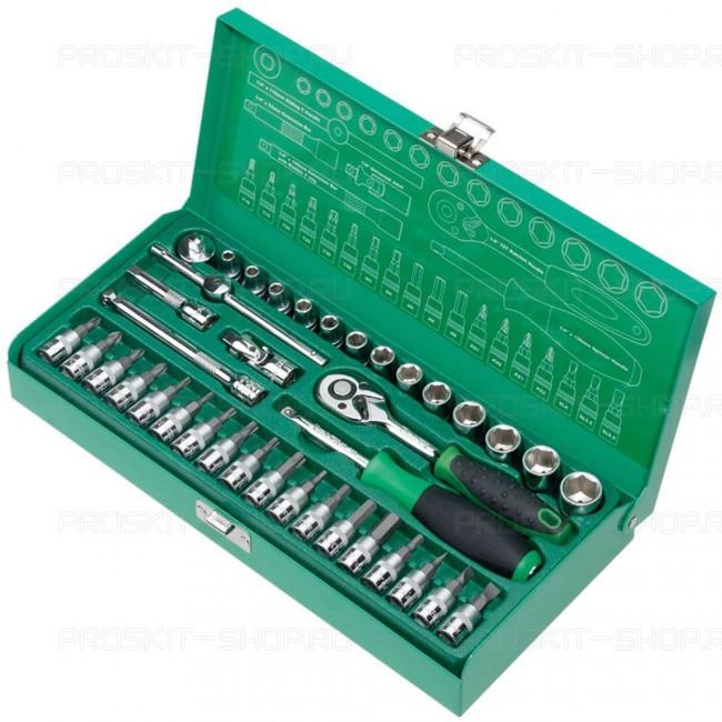 """SK-23801M Pro'sKit Набор торцевых ключей для авто (1/4"""",13 головок,18 бит, 38 предметов)"""