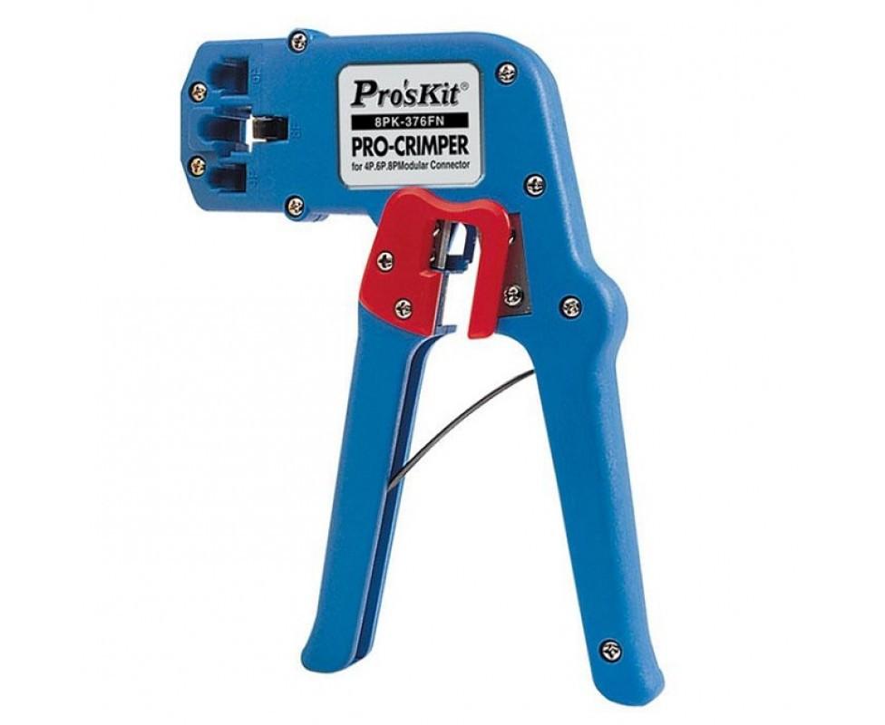 8PK-376FN Pro'sKit Клещи для обжима витой пары профессиональные (8P/6P/4P, 166мм)