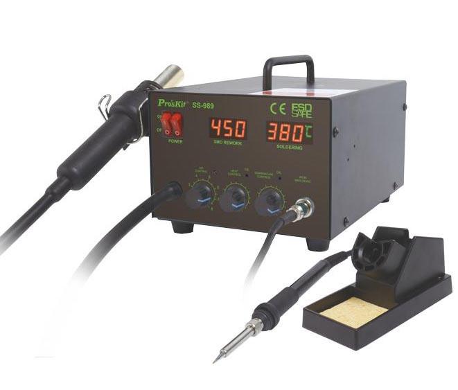 SS-989B Pro'sKit Паяльная станция цифровая двухканальная (паяльник 60Вт, фен 24л/мин, LED-индикация,