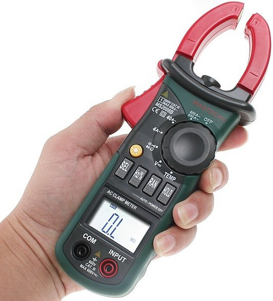 MS2008A Mastech клещи токоизмерительные цифровые автоматические ACA (ACV/DCV, сопр., прозвон, авто диапазон)