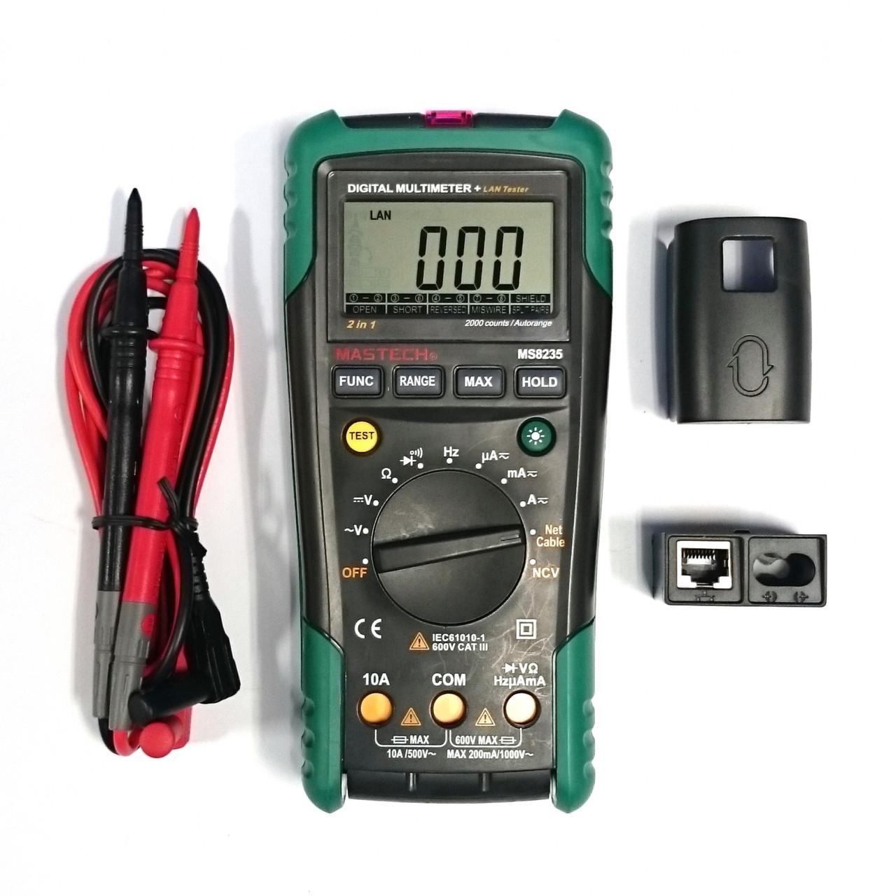 MS8235 Mastech цифровой автоматический мультиметр+ кабельный тестер (коакс., витая пара) + детектор напряжения