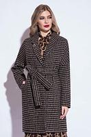 Пальто демисезонное, 40-48, черно-коричневое