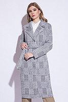 Пальто демисезонное, шерсть, 40-48, серо-белое, шотландская клетка