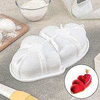 Форма для муссовых десертов и выпечки «Влюблённые сердца», 27×17 см, цвет белый