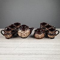 "Набор чайный ""Бочка"", 8 предметов: чайник 1 л, сахарница 0.8 л, чашки 0.35 л"
