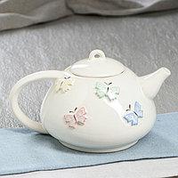 """Чайник для заварки """"Японский"""", с бабочками, белый, 600 мл"""