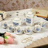 """Кофейный сервиз """"Скиф"""" 14 предметов, роспись, 0,6 л чайник, 0,3 л сахарница, 0,05 л чашки"""