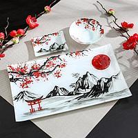 Набор для суши «Рассвет в горах», 3 предмета: соусники 8×2 / 8×6 см, подставка 25×15 см