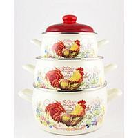 Набор посуды 6 предметов «Золотой Петушок»: 2,2 л, 4 л, 5,3 л, с металлическими крышками