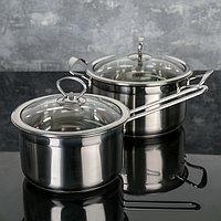 Набор посуды 2 предмета: ковш 20х11 см , кастрюля 22х12 см, капсульное дно, индукция