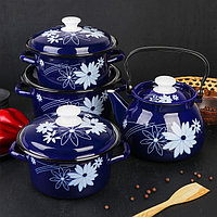 Набор посуды «Валенсия», 4 предмета: кастрюли 2 л, 3 л, 4 л, чайник 3 л