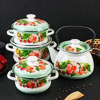 Набор посуды «Солнышко», 4 предмета: кастрюли 1,6 л, 2,1 л, 3 л, чайник 3 л