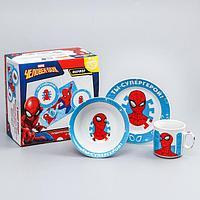 """Набор посуды """"Ты - супергерой"""", Человек-паук, кружка , тар. 17 см, сал.360 мл(без коврика)"""