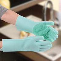 Перчатки хозяйственные силиконовые, для мытья посуды, 240 гр, цвет МИКС