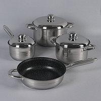 Набор посуды 4 предмета «Вип» 1,9 л,3,4 л,5,8 л, сковорода 24 см, индукция, капсульное дно