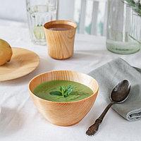 Набор посуды из натурального кедра, 19x2 см; 13x7 см; 180 мл, цвет молочный