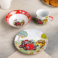 Набор детской посуды «Такси», 3 предмета: кружка 220 мл, миска 400 мл, тарелка 18 см