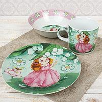 Набор детской посуды «Дуняша», 3 предмета: кружка 230 мл, миска 400 мл, тарелка 18 см