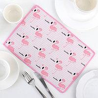 Коврик для сушки посуды «Фламинго», 20×30 см, лён