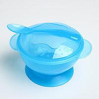 Набор детской посуды, 3 предмета: миска на присоске 330 мл, крышка, ложка, от 5 мес., цвета МИКС